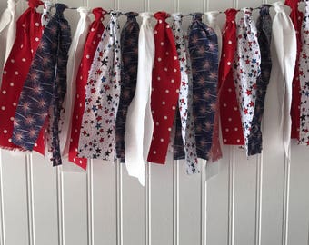 Red, white and blue banner, ragtie 4th of july banner, patriotic decor, patriotic banner, 4th of july banner, 4th of july decor, buntings