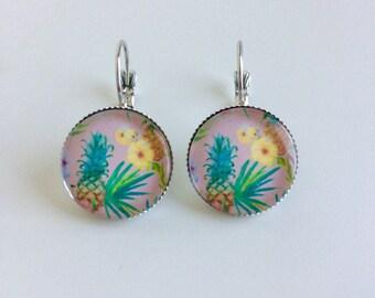 Flowers and pineapple earrings tropical earrings cabochons