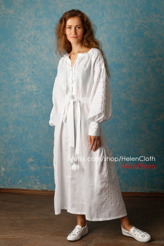 White linen dress ukraine