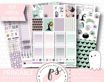 Hey Boo! Halloween Full Weekly Kit Printable Planner Stickers | JPG/PNG/Silhouette Cut Files | For Use with Erin Condren ECLP Vertical