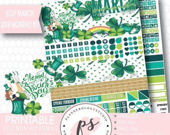 Shamrock Luck St Patrick's Day March 2018 Monthly View Kit Digital Printable Planner Stickers (Erin Condren)|JPG/PDF/Silhouette Cut File