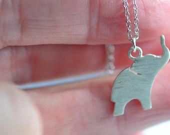 Dainty Elephant Necklace/ Tiny Elephant Necklace/ Baby Elephant Necklace/ Silver Elephant Necklace