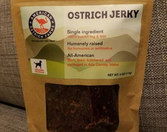 Ostrich jerky dog treats by American Ostrich Farms (Pack of 5)