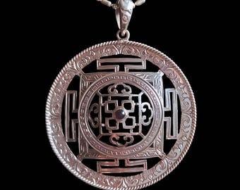 Garnet Mandala Pendant, Silver
