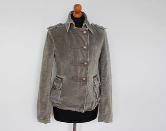 womens military jacket grey cropped jacket retro gray wool
