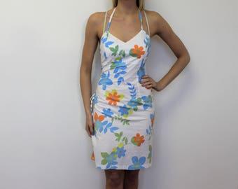 Sleeveless Mini Dress White orange Blue big Flowers  Sleeveless Strap Tunic Dress  Cotton Beach dress  Medium