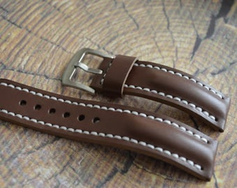 Brown watch strap, leather watch strap 19mm 20mm 21mm 22mm 23mm 24mm handmade
