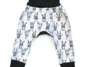 Grow with Me Harem Pants, Baby Leggings, Gender Neutral Baby Clothes, Baby Gift, Grey Toddler Pants, Bunny Leggings, Baby Boy Pants
