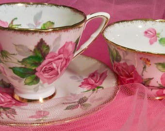 Pretty in Pink-Royal Stafford Berkeley Rose Teacup and Saucer and Sugar Bowl