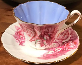 Pretty in Pink-Stunning Royal Stafford Pink Rose and Blue Interior Teacup and Saucer