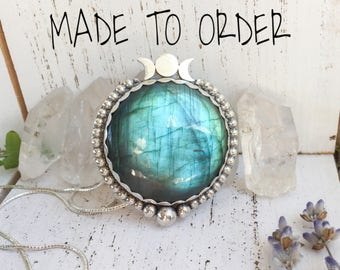 MADE TO ORDER Triple moon goddess labradorite pendant necklace - sterling silver and fine silver, custom made, valentine's day gifts for her