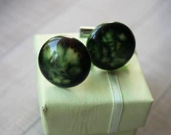 Green cufflinks vintage  wedding cufflinks for men retro  emerald green wedding bottle green  classic cufflinks green gifts for men