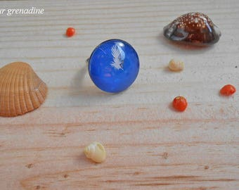 Ring cabochon blue feather white, gift idea party a grand mothers, Easter