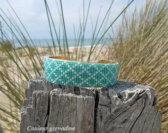 Cuff Bracelet woven green miyuki beads, gift idea party a grand mothers, Easter