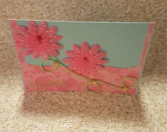Birthday card, birthday card with Pink daisies, birthday card, greeting card with message, greeting card, blue and pink birth day.