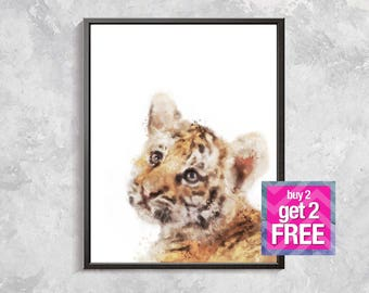 Tiger Print, Baby Tiger watercolor, Safari print, Wild Animal Decor, Safari Watercolor printable, Nursery animal decor, Safari art
