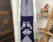 Vtg 70s rayon batik bird print maxi dress