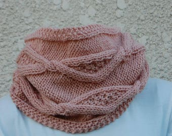 Pink hand knitted Snood