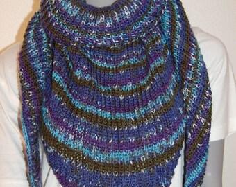 Scarf/shawl knit handmade Heather blue/green/purple
