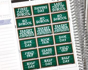 School Events: Chalkboard Halfboxes- Scrapbook/Planner Stickers for Erin Condren/ ECLP, Happy Planner, Personal