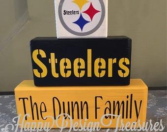 Pittsburgh Steelers Wood Blocks Sign, Steelers Wood Blocks, Gift for Steelers Fan, Pittsburgh Steelers, Pittsburgh Steelers Sign