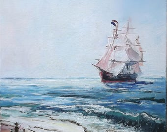 Sailing ship, picture seashore . Ocean. Ship Art