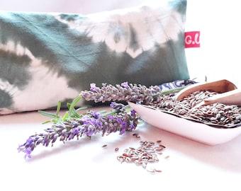 Eye pillows, relaxation, meditation, wellness, lavender, flax seed, wellbeing, shibori, olive green