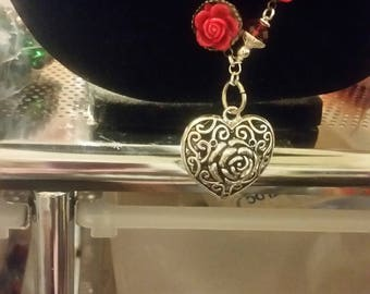 Valentine's Day Heart Necklace and Earrings