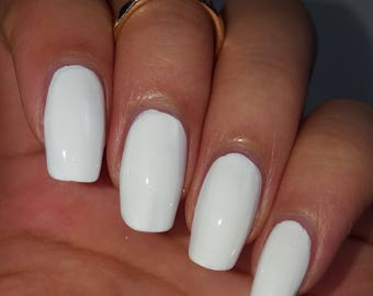 Classic WHITE NAIL POLISH Creme Indie Nail Lacquer 5-Free Handmade Indie Shiny Nail Polish Vegan Cruelty Free Gifts for her Gift Under 10
