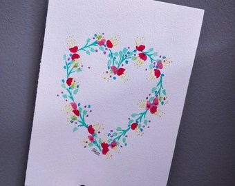 Pastel Dreams Heart Wreath, original watercolour painting. A4.