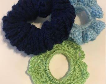 Handmade Crochet Srunchies Set of 3 Cools