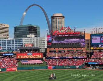 Busch Stadium St Louis Cardinals Opening Day Baseball Missouri Ball Park 2016 Ford Military American Flag Arch