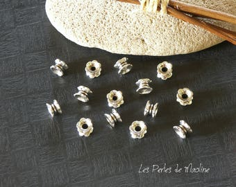 Set of 10 Dolly - Silver - 5 x 7 m - ref:t13 shape metal beads