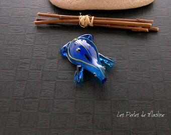 1 Lampwork frog shape pendant - blue, yellow & Black - 49 x 36 mm - ref:t49