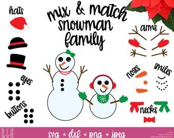 Snowman Family svg - Snowmen Family - Snowman svg - Snowman Face svg - Snowmen svg - SVG Files