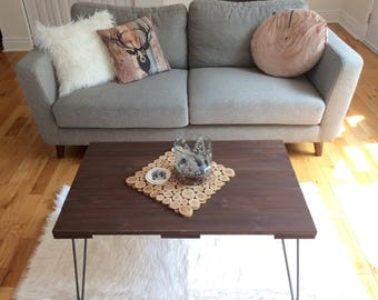 Wooden hairpin leg coffee table
