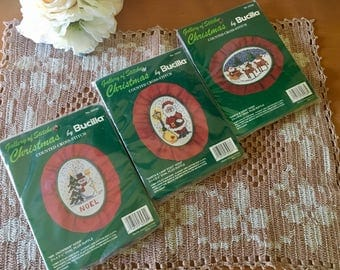 Bucilla Gallery of Stitches Christmas Counted Cross-Stitch Craft Kits - New Old Stock