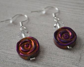 Earrings, Rose Earrings, Flower Earrings, Orange Earrings, Purple Earrings, Dangle Earrings, Drop Earrings