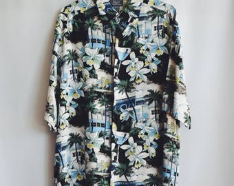 Shirt Vintage blue Hawaiian Cocktail
