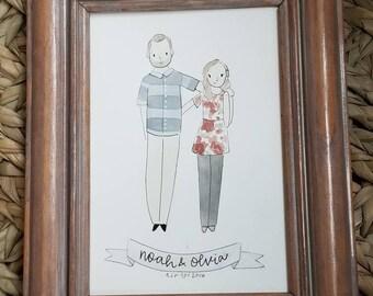 Custom couple watercolor portrait