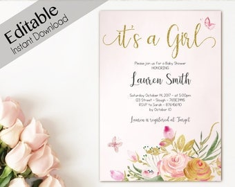 Baby Shower Invitation Gold, Editable Butterfly Baby Shower girl, flowers watercolor Invitation Baby Girl, Its a girl baby shower template
