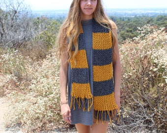 Yellow & Gray Scarf Knitted -Handmade