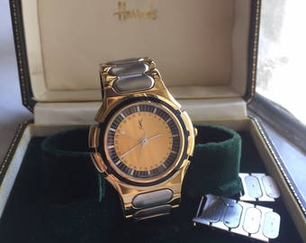 Authentic Vintage YSL Yves Saint Laurent Ladies Watch Gold Watch with Box
