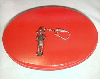 Old keychain with the figure of Pippi Longstocking from the 70s years