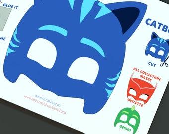 Catboy mask, Papercraft,papercraft mask Catboy, PJ Mask,  Digital Mask-Pj Mask, Mask-Digital, Pj Mask Digital Mask Digital, Halloween