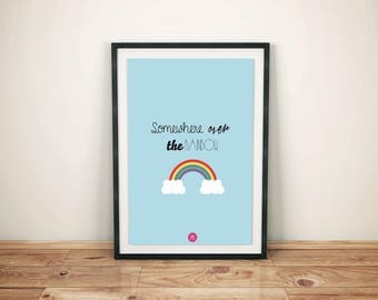 """""""Somewhere over the rainbow"""" A3 poster"""