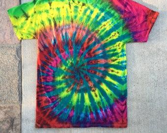 Spattered Spiral Tie Dye T Shirt