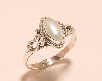 Natural Pearl Ring Cabochon Ring Sterling Silver Ring Pearl Marquise Ring Stone 925 Sterling Silver Ring Fresh Water Pearl Ring Us 8.5 E1220