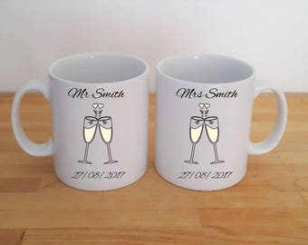 Mr and Mrs Champagne Wedding Glass Gift Set