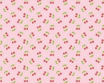 Riley Blake  Glamper Cherries  Pink Cotton Quilting Fabric
